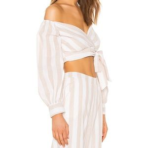 NWT Superdown Laura Stripe Wrap Top nude stripe L